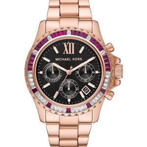 MICHAEL KORS Oversized Everest Pavé Rose Gold-Tone Watch